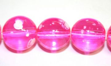 35pieces x 12mm Hot pink colour bubble gum glass beads / speckled glass beads -- 3005119